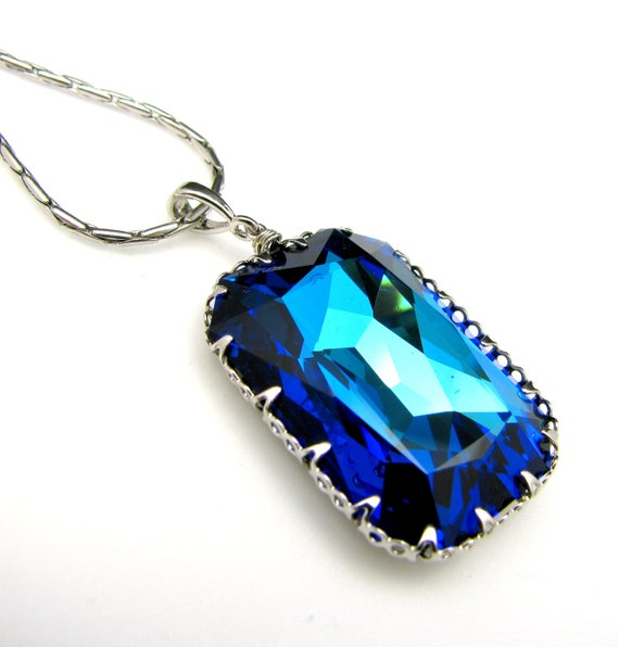 Swarovski bermuda blue vintage  rectangle foiled pendant with silver chain necklace- Free US shipping