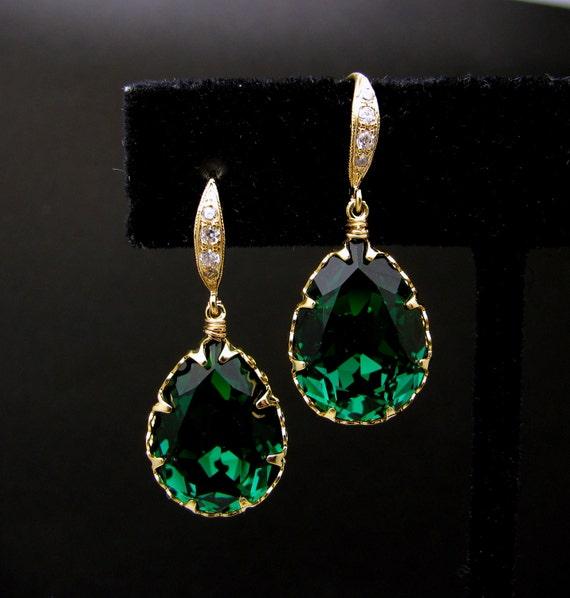 Swarovski emerald teardrop foiled crystal rhinestone with gold  vermeil cubic zirconia hook- Free US shipping