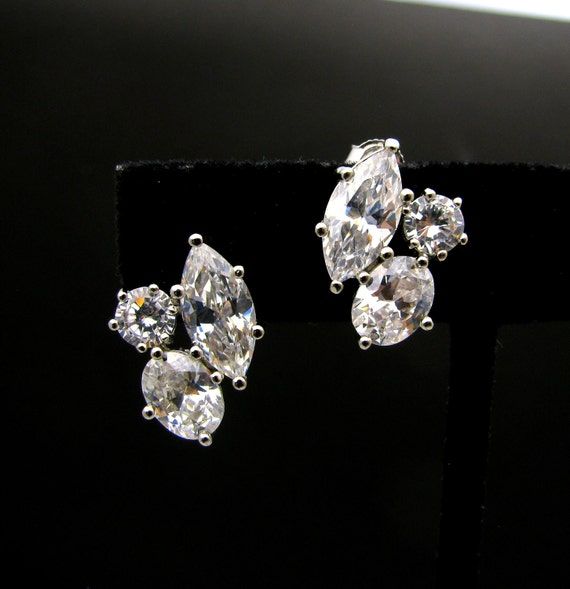 Wedding bridal earrings bridesmaid Jewelry prom pageant party statement three stone shape cubic zirconia stud post rhodium silver earrings