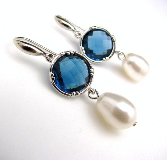 bridesmaid gift bridal earrings swarovski pear shape white cream pearls Sapphire blue crystal round quartz connectors silver hook earrings