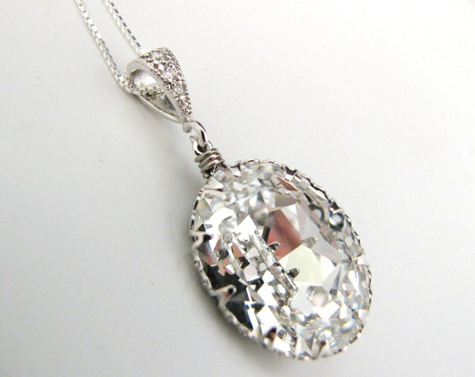 wedding bridal Swarovski clear white vintage oval foiled pendant with sterling silver chain necklace- Free US shipping
