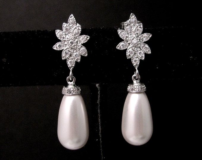 white gold  plated flower earrings with white teardrop swarovski  pearls- Free US shipping