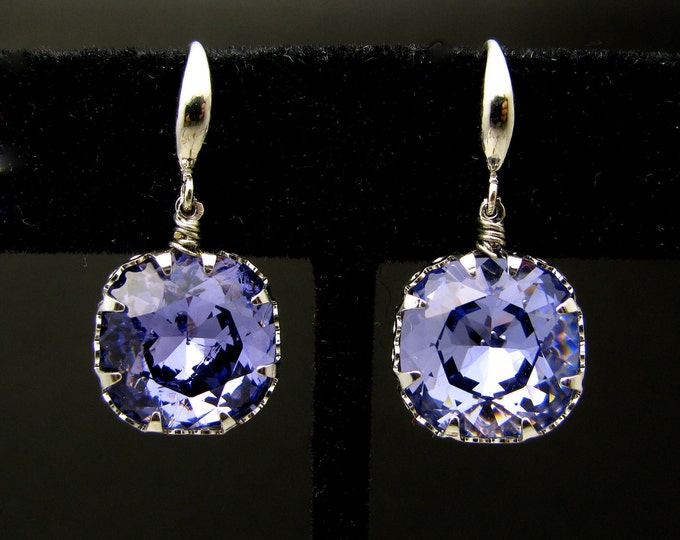 bridesmaid gift prom party Swarovski  tanzanite blue purple square vintage style foiled crystal rhinestone with white gold hook earrings.