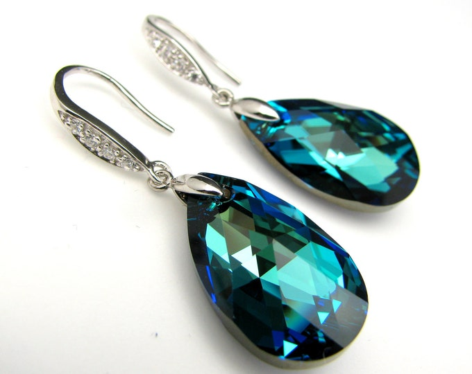 free US shipping - swarovski bermuda blue faceted teardrop crystal earrings on sterling silver cubic zirconia  hook