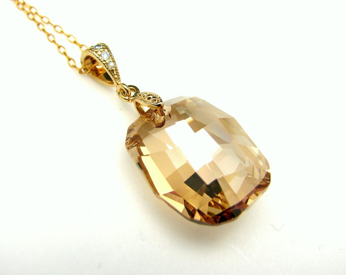 swarovski Golden shadow graphic pendant crystal drop necklace with gold filled chain-Free US shipping