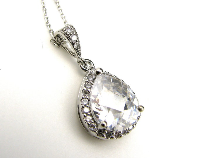 wedding bridal jewelry pendant necklace bridesmaid gift party prom christmas Sterling silver necklace pave AAA cubic zirconia teardrop