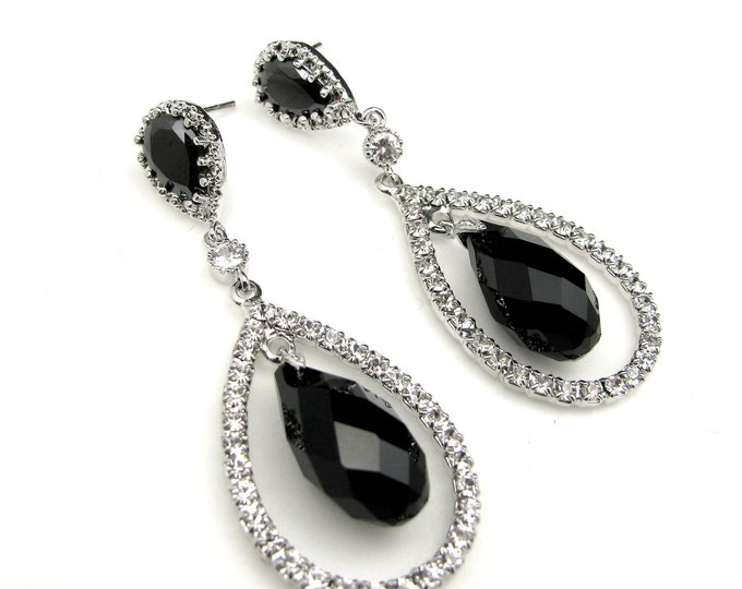 Wedding bridesmaid - Genuine Swarovski jet black briolette crystal drop earrings with crystal stone decorated teardrop- Free US Shipping