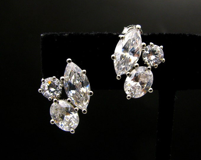 SALE Set of 4 5 6 7 8 9 10 pairs Wedding bridal bridesmaid Jewelry prom party statement three shape cubic zirconia stud post silver earrings