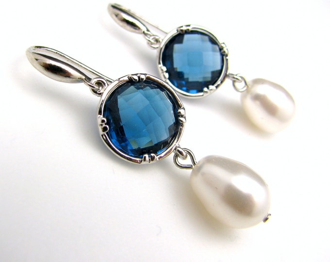 bridesmaid gift bridal earrings swarovski pear shape white cream pearls Sapphire blue crystal round quartz connectors silver hook earrings