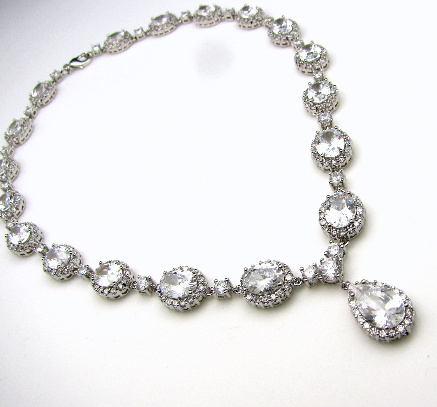 Bridal jewelry christams pageant prom wedding necklace clear for Wedding ring necklace