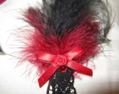 Sweet mini red and black feather fascinator BURLESQUE