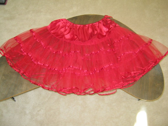 Vintage 1950s Style Red Tulle Petticoat