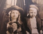 1910s cabinet photo - the spinster aunts and 2 orphan cousins - vintage photograph