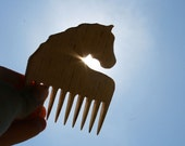 Cute Horsey Wooden Comb Hand Carved Natural Horse Head Handle