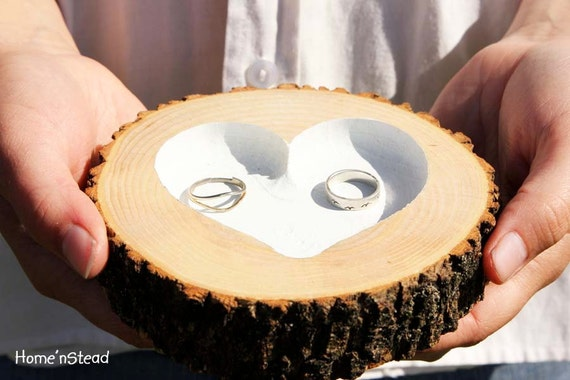 Rustic Wedding Ring Bearer Pillow Log Ring Dish Engraved Heart