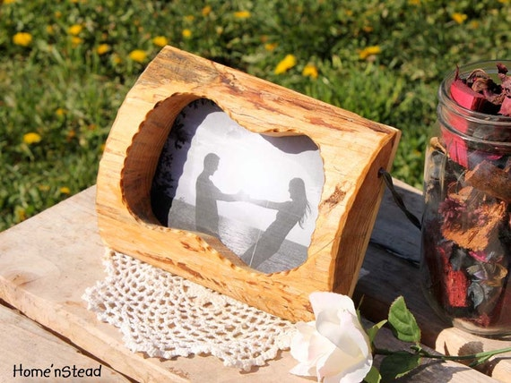 Rustic Wood Picture Frame Free Standing Personalized Custom Wood Burning Options