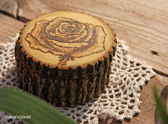 Rustic Log Jewelry Box Rose Wood Burned Art Lid Custom Personalization Ring Box