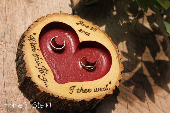 "CHOOSE YOUR OWN Color and Lettering Rustic Wedding Ring ""Pillow"" Log Ring Dish Engraved Heart"