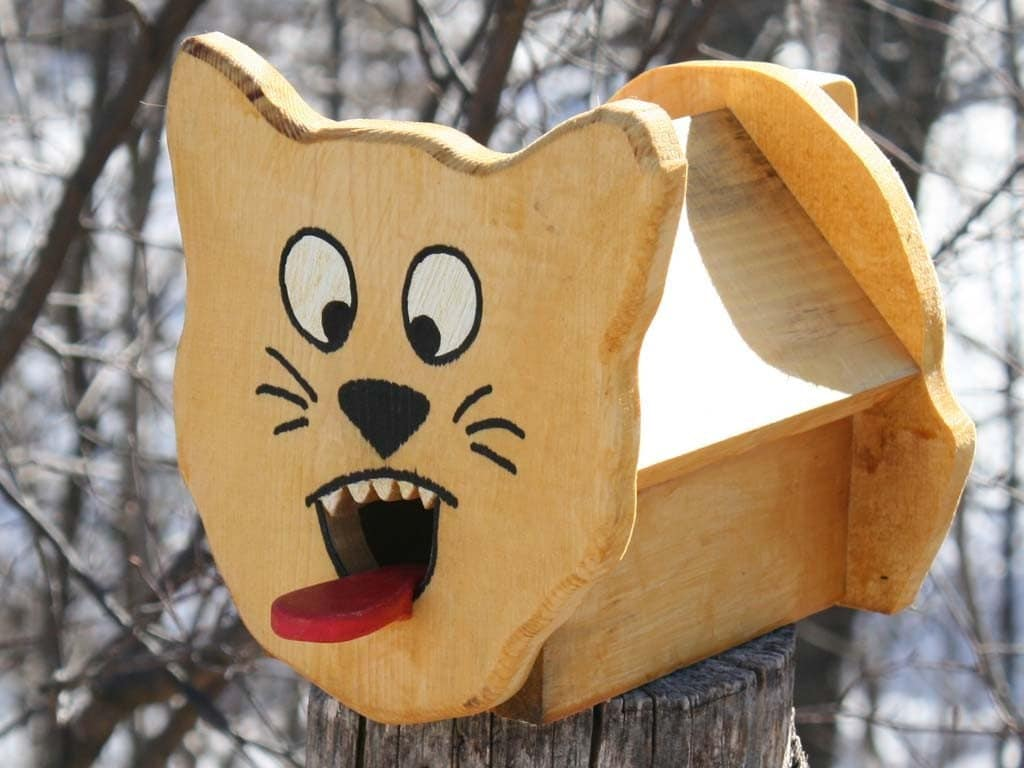 comical handcrafted cat birdhouse funny gift