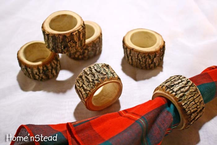 Rustic Napkin Rings 6 pcs Holders Reception Dinner Decor Log