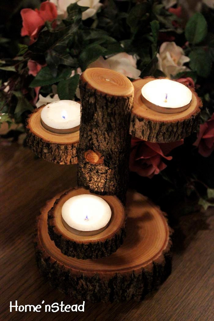 Table centerpiece candle holder unique tiered stand rustic