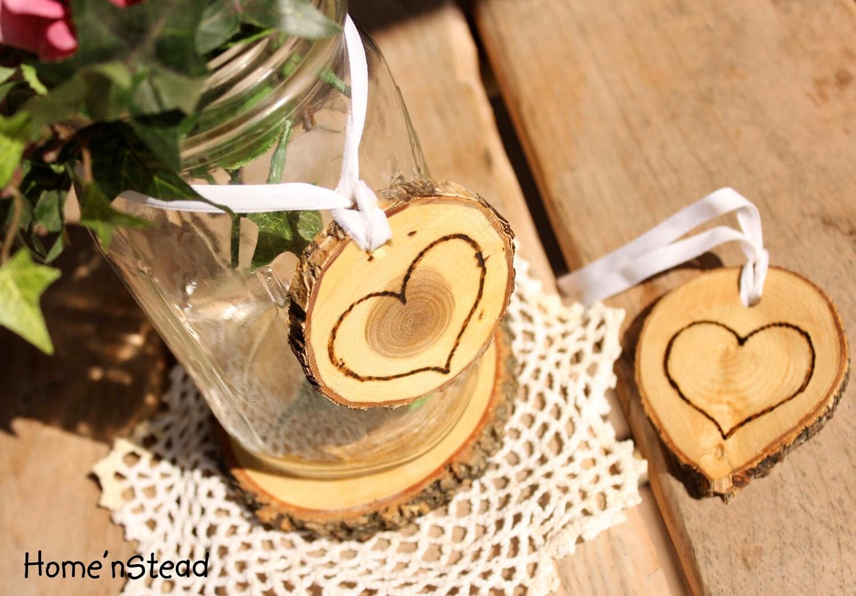 Rustic Wedding Tokens Mason Jar Decoration Hearts Table By