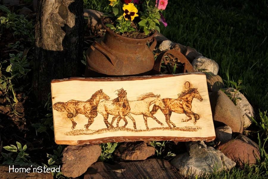 Running Horses Wood Burning Art Galloping Horse Herd Wall