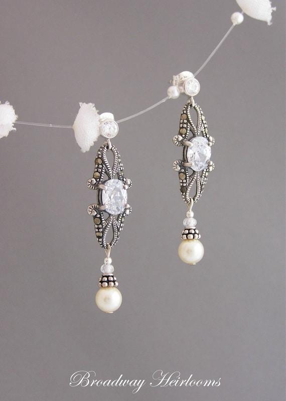 "Cubic Zirconia & Pearl Bridal Earrings, Victorian Wedding Jewelry - ""ISABELLA"""