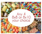 Discounted print set Any 4 8x8 or 8x10 photographs your choice - affordable wall art - floral artwork - carnival photographs
