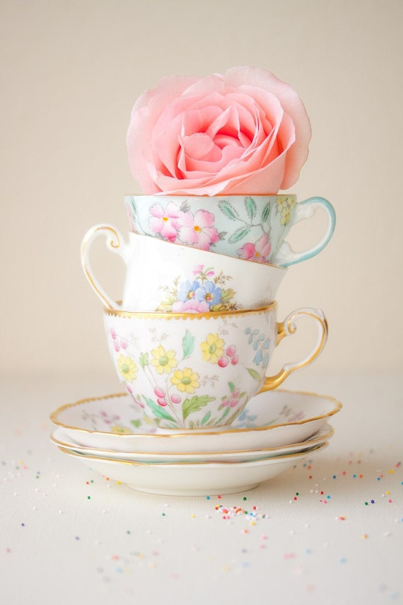 Tea Cups and a Rose, a romantic and feminine fine art photography - FREE shipping USA
