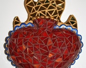 SALE - Sacred Heart, Mosaic Art, Wall Art, Red, Royal Blue, Gold, Glass NOW 75 DOLLARS.