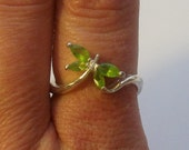 Sterling Silver Butterfly Ring with Green Stone Accents