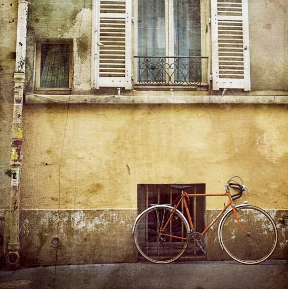 Orange Bicycle in Paris France - 8x8 Fine Art Print