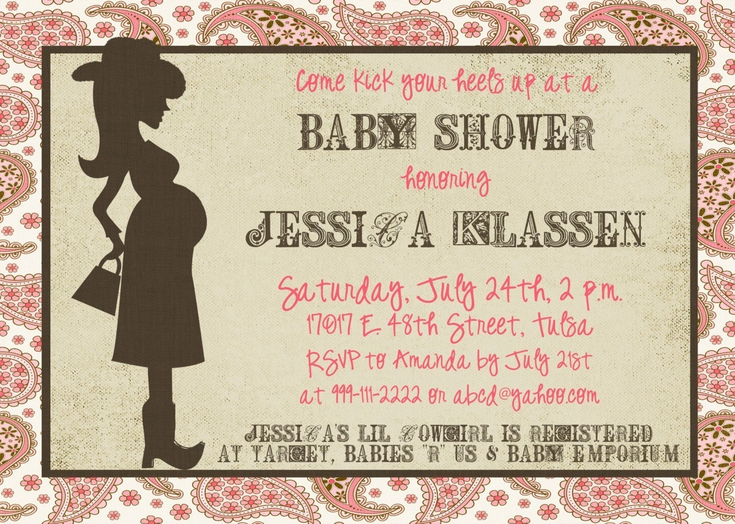 western mama 5x7 baby shower invitation