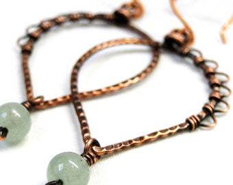 Antiqued Copper, Green Fluorite, Handcrafted, Wire Wrapped, Leaf Earrings