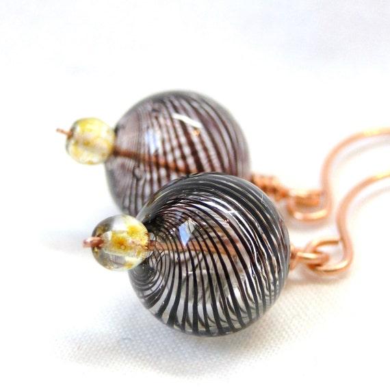Blown Glass Earrings, Wire Wrapped Jewelry, Handcrafted Earrings