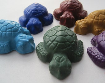 Crayons NAURAL Eco Friendly HANDMADE Soy Turtle Crayons (Set of 6) Eco Toy, Gift for Kids, Birthday, Party Favor, Kids Gift, Party Favor