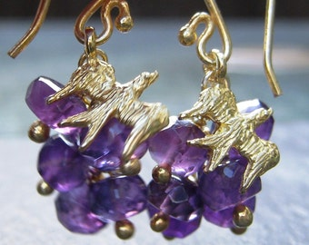 ON SALE Amethyst Earrings in Gold Vermeil Sparrow Cluster Earrings purple gemstone February birthstone purple and gold bird earrings