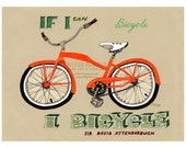 Art print gift for him bicycle nursery decor illustration drawing orange statement green quote wisdom bike sport vehicle man fitness gear