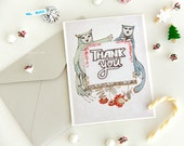 Cat and Owl Thank you card - greeting gratitude animal cute kitty bird personal gift love romantic sweetheart woodland friend shabby father