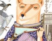 Animal illustration nursery decor cute drawing orange fox brown bear art gift print pigeon city sky clouds mint violet purple grey brown