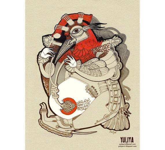 Rooster - fine art print surreal illustration drawing silhouette man dude for him fantasy decor red bird farm beige zodiac constellation