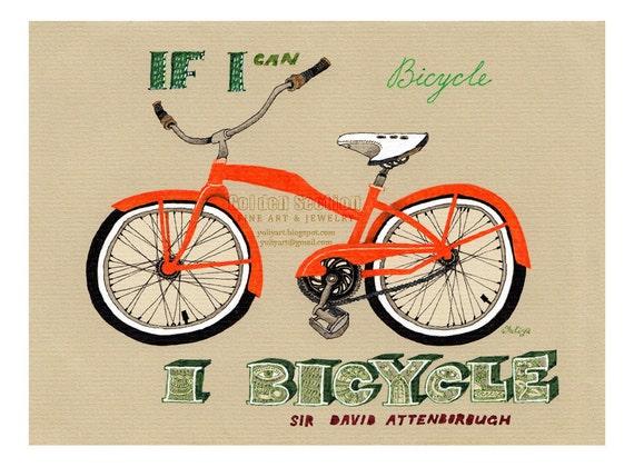 Art print gift for him bicycle nursery decor illustration drawing orange statement green quote wisdom bike sport vehicle man fitness gear