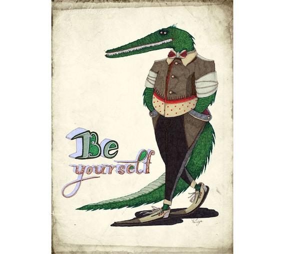 Gift for him nursery decor print green crocodile animal inspiration card drawing dapper suit statement dressy brown man unisex green pastel