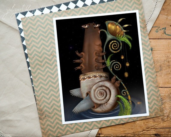 Snail - fine art print digital computer graphics photomanipulation dark insect home decor picture green nature animal geek dude man for him