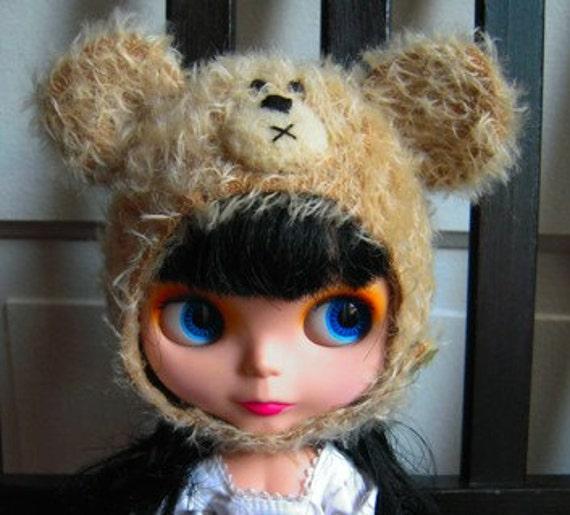 Mohair teddy bear helmet for Blythe