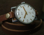 Handmade - VINTAGE SOVIET Wrist Watch - Natural brown Vintage leather strap - Free Shipping
