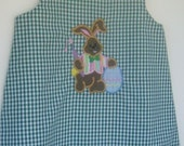 Chocolate Easter bunny Painting Easter Egg  green gingham aline size 9Mo 1T 2T 3T 4