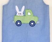 Easter Bunny Truck applique minky dot rabbit blue gingham jon jon sizes 9 month 5