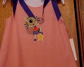 Tiger applique Cheerleader dress aline orange gingham lines size 1T-4T